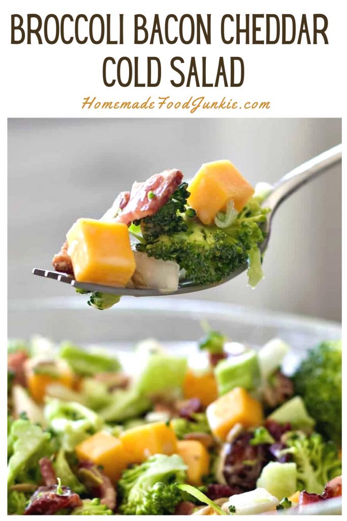 Broccoli bacon cheddar cold salad-pin image