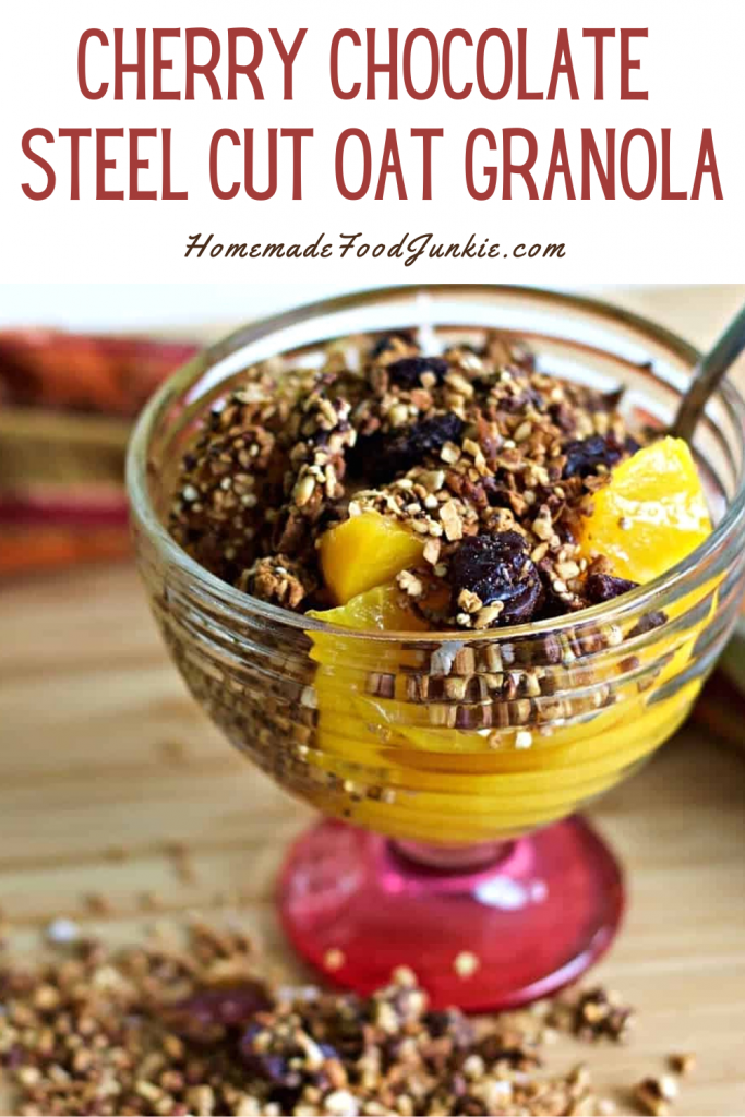 Cherry chocolate steel cut oat granola-pin image