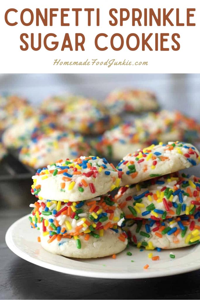 Confetti sprinkle sugar cookies-pin image