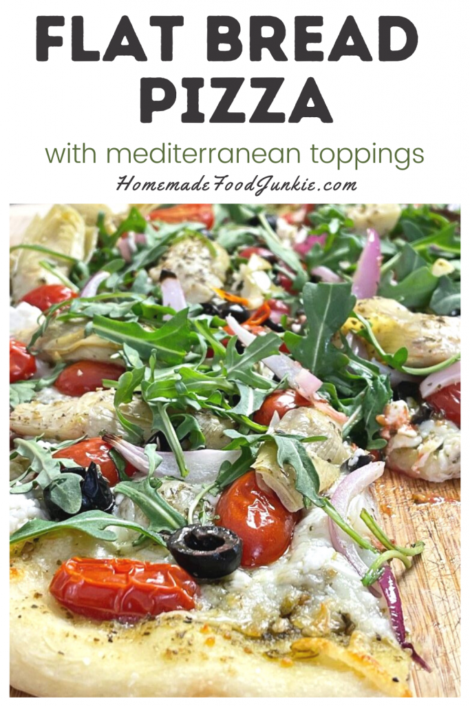 Flat bread pizza with mediterranean toppings-pin image