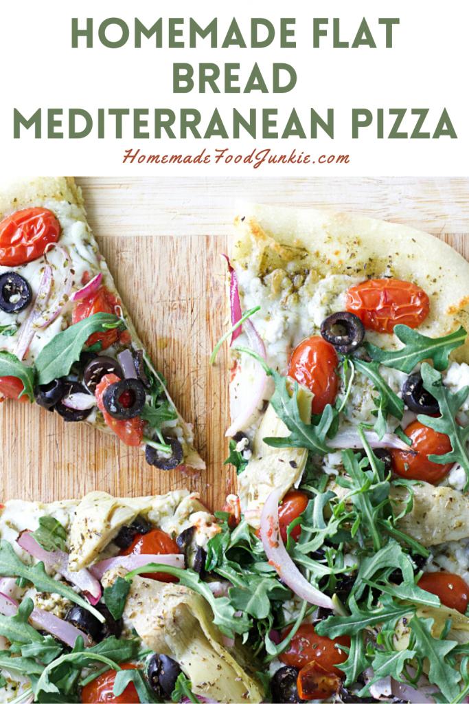 Homemade flat bread mediterranean pizza-pin image