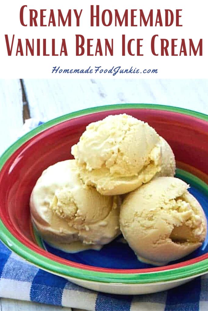 Creamy homemade vanilla bean ice cream-pin image