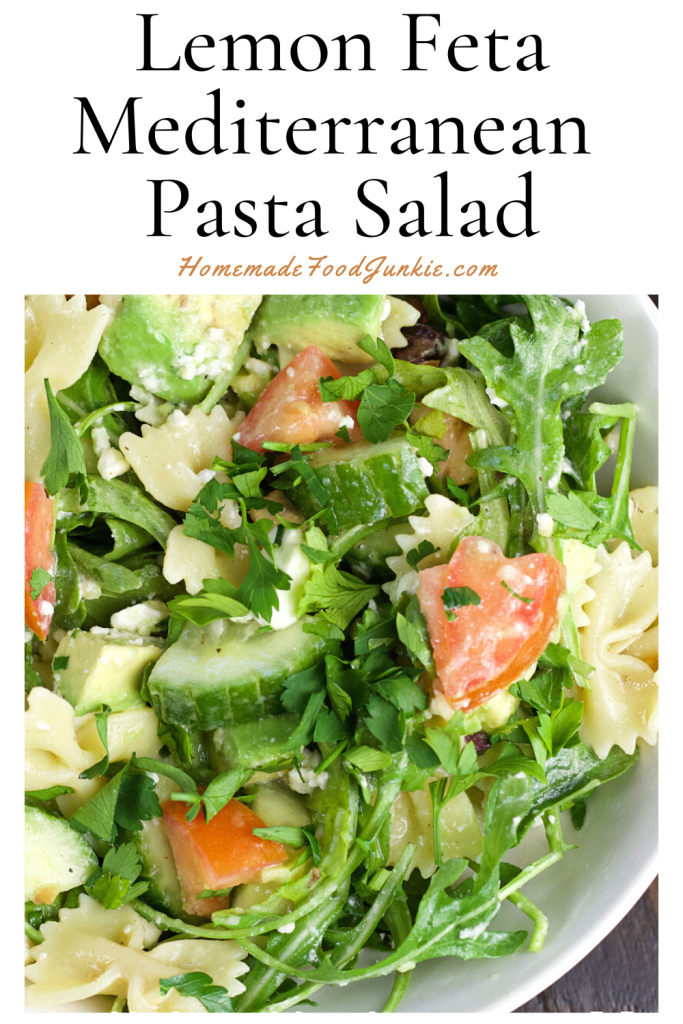 Lemon feta mediterranean pasta salad-pin image