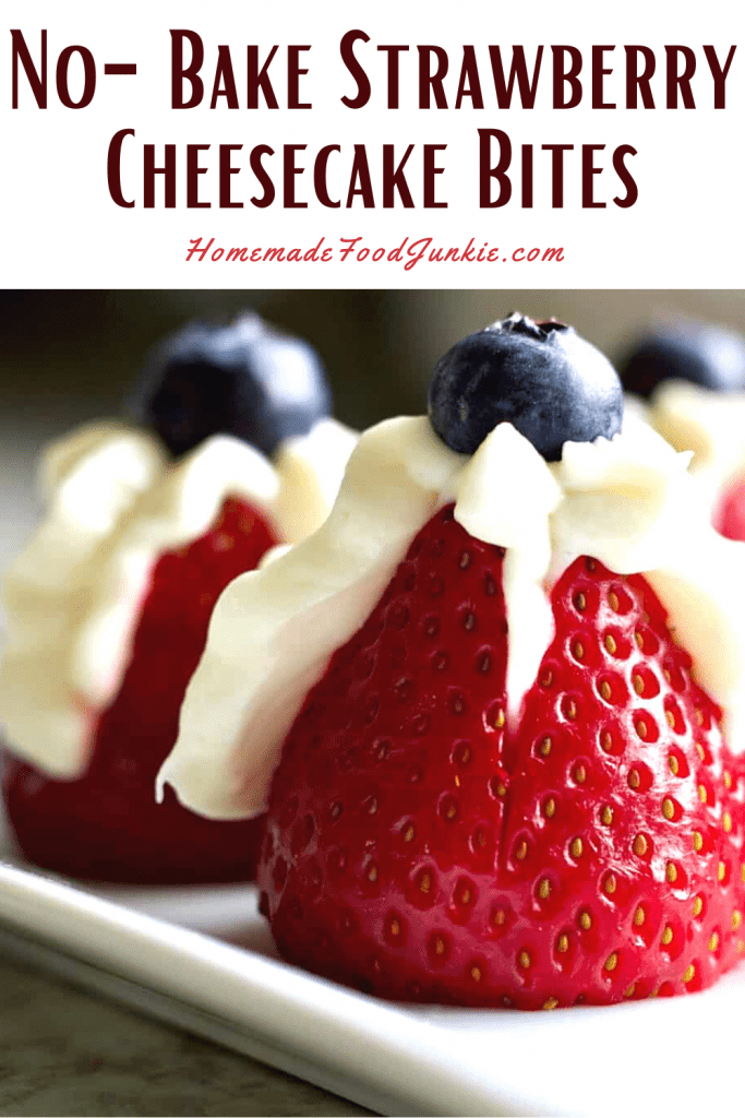 No bake strawberry cheesecake bites-pin image