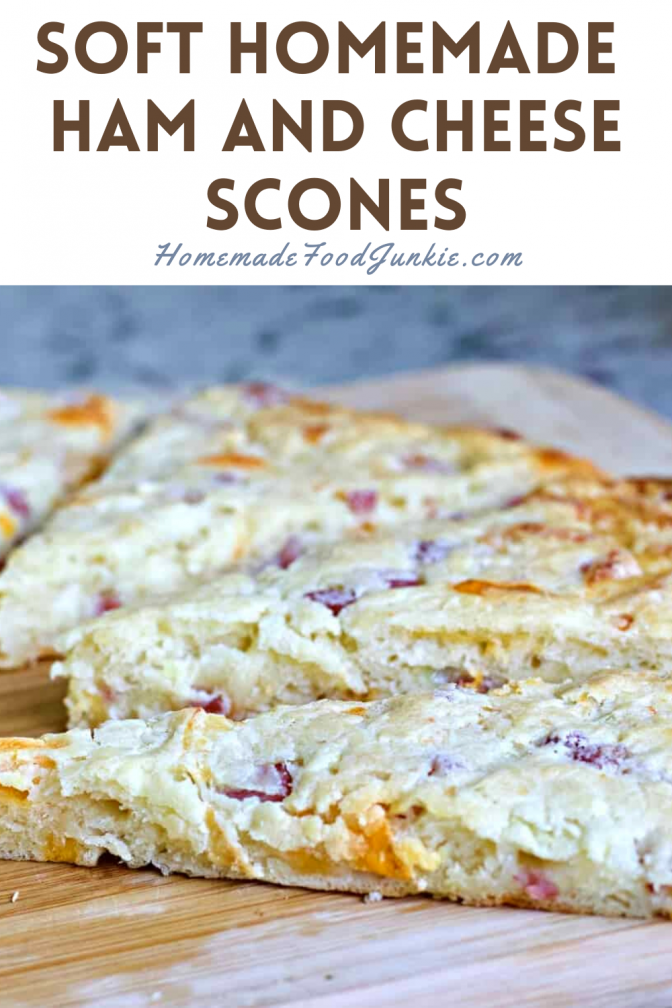 Soft homemade ham and cheese scones-pin image