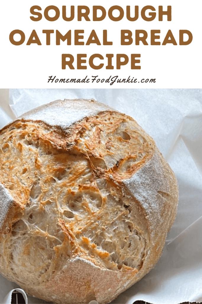 Sourdough oatmeal bread recipe-pin image