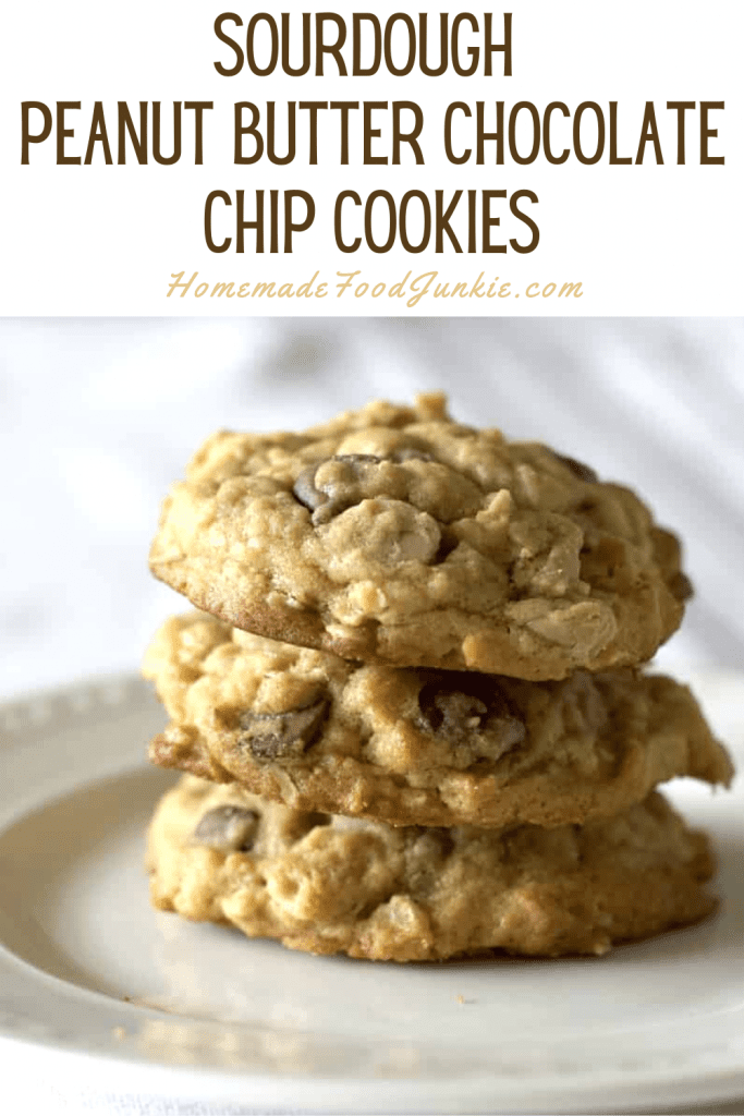 sourdough peanut butter chocolate chip cookies-pin image