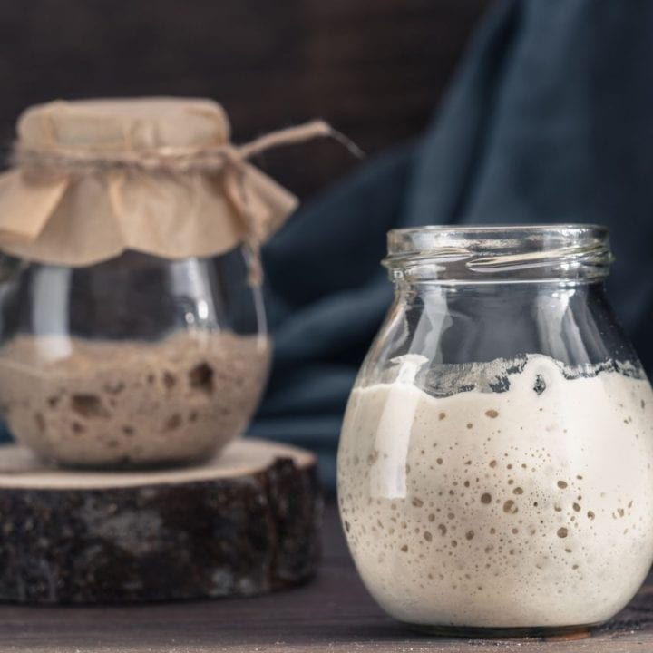 Sourdough starters with flour and rye