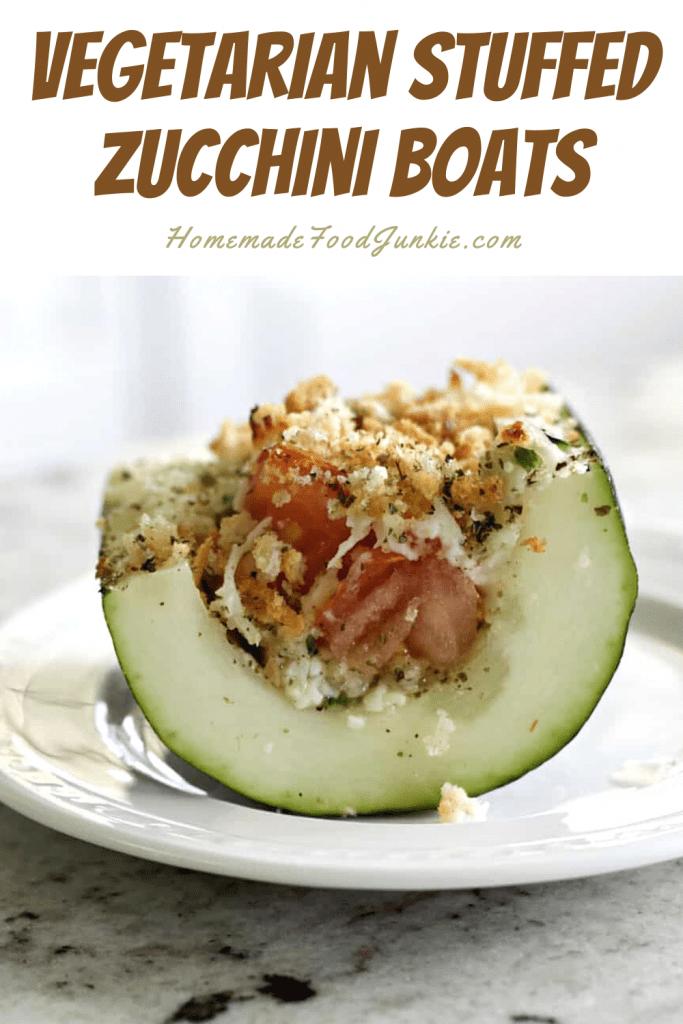 Vegetarian stuffed zucchini boats-pin image