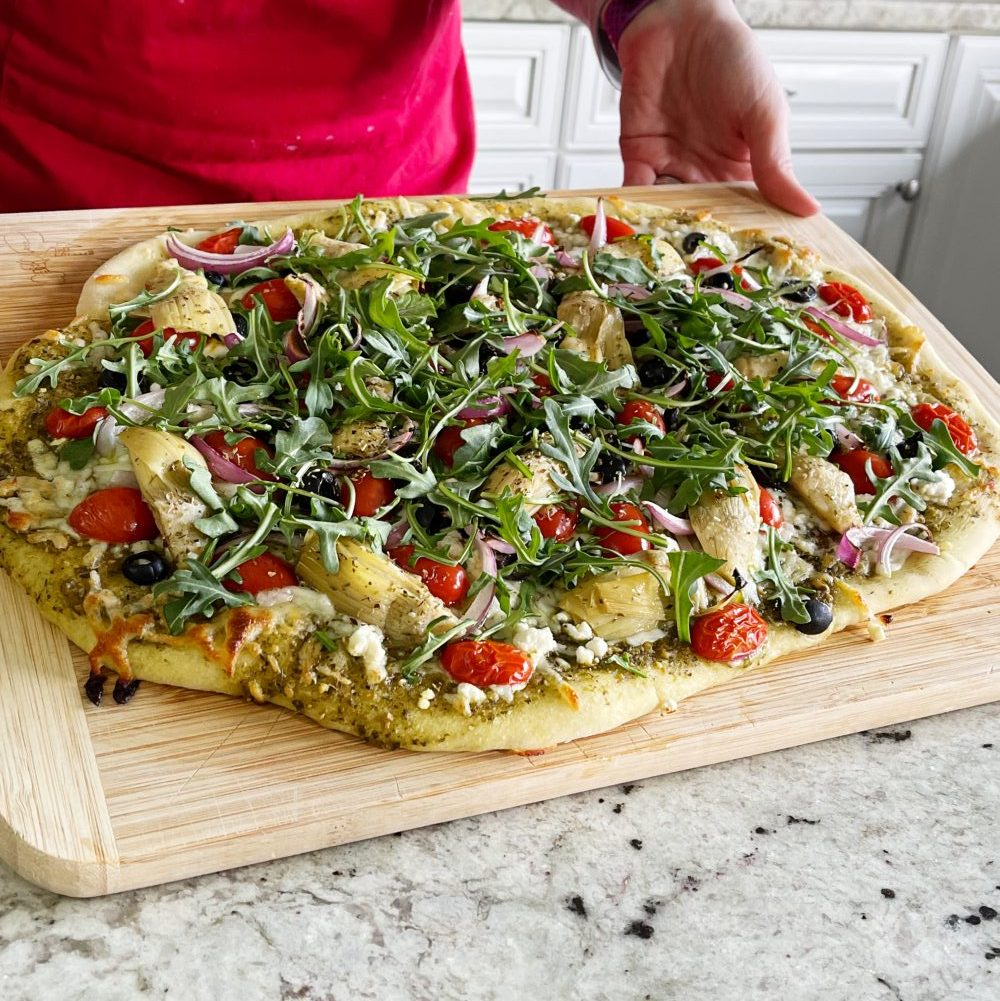 Baked Flatbread-Mediterranean Toppings