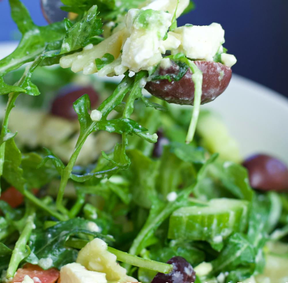 close up of kalamata and feta salad