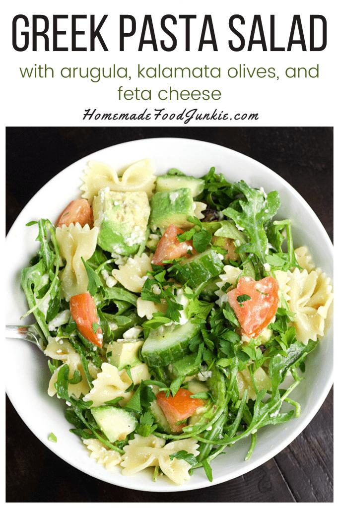 Greek pasta salad-pin image