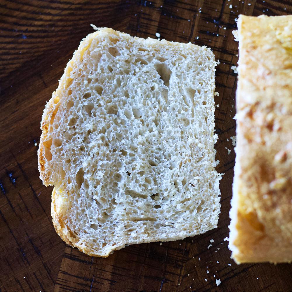 close up of crumb- sourdough oatmeal bread
