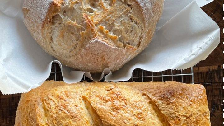 sourdough oatmeal bread-boule and loaf