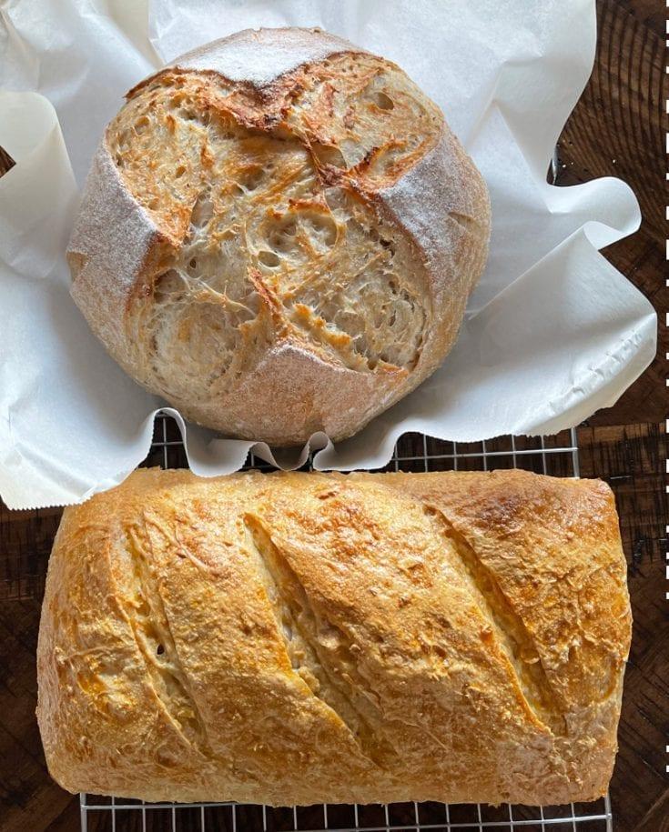 sourdough oatmeal bread boule and loaf e1613328133767