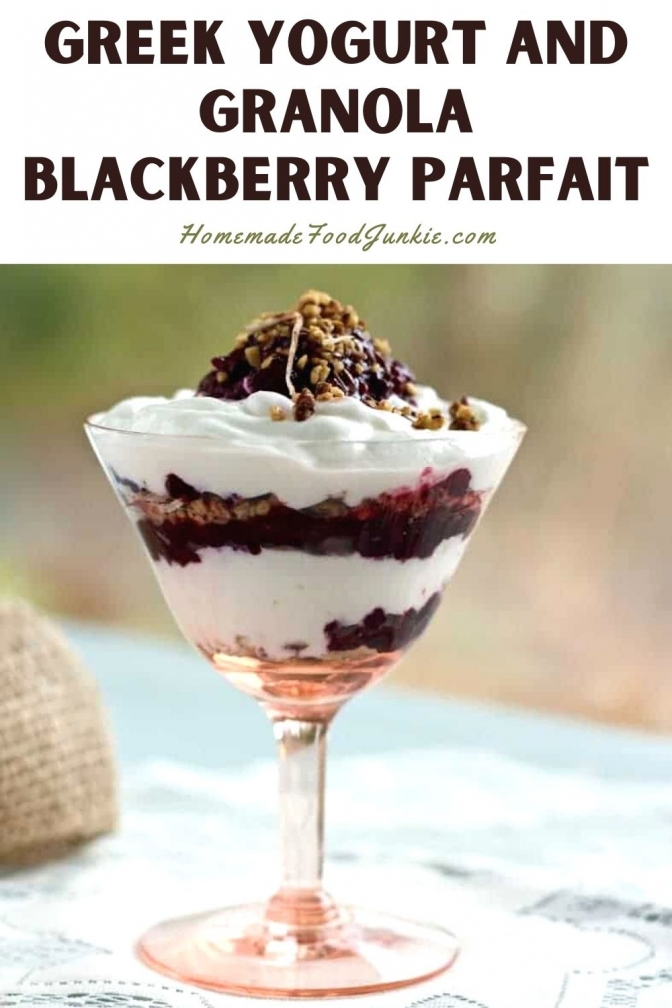 Greek yogurt and granola blackberry parfait-pin image