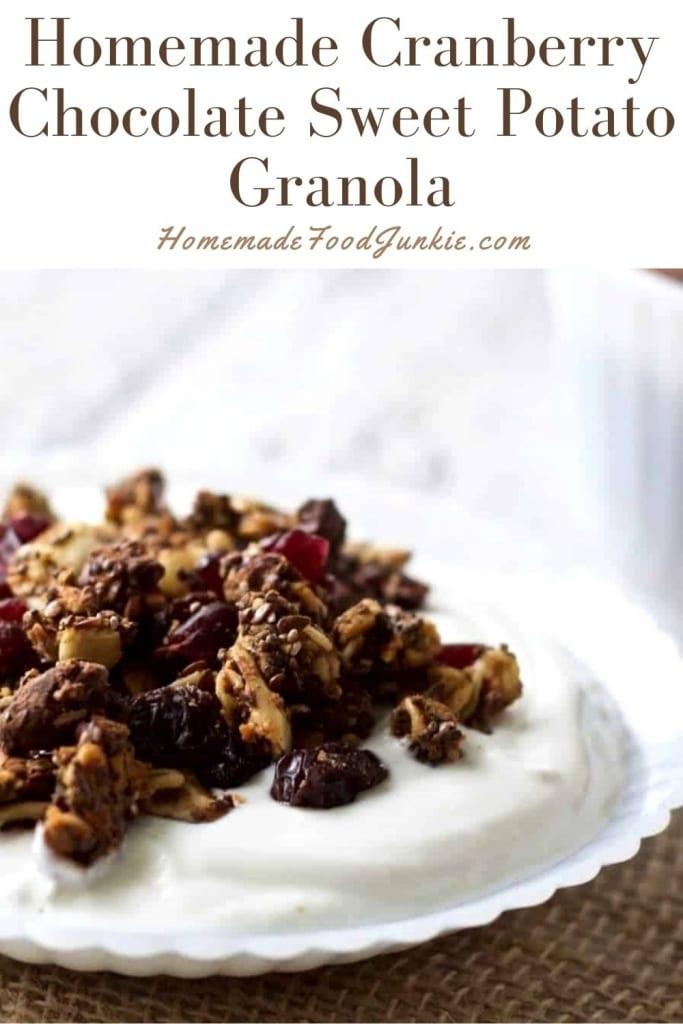 Homemade cranberry chocolate sweet potato granola-pin image