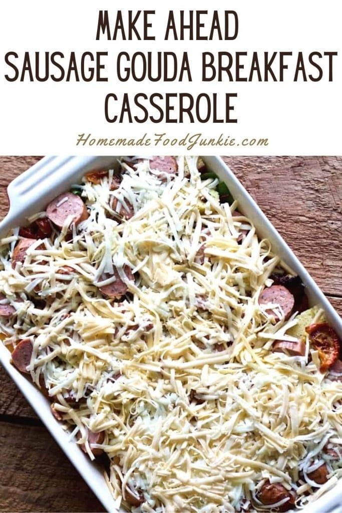 Make Ahead Sausage Gouda Breakfast Casserole-Pin Image
