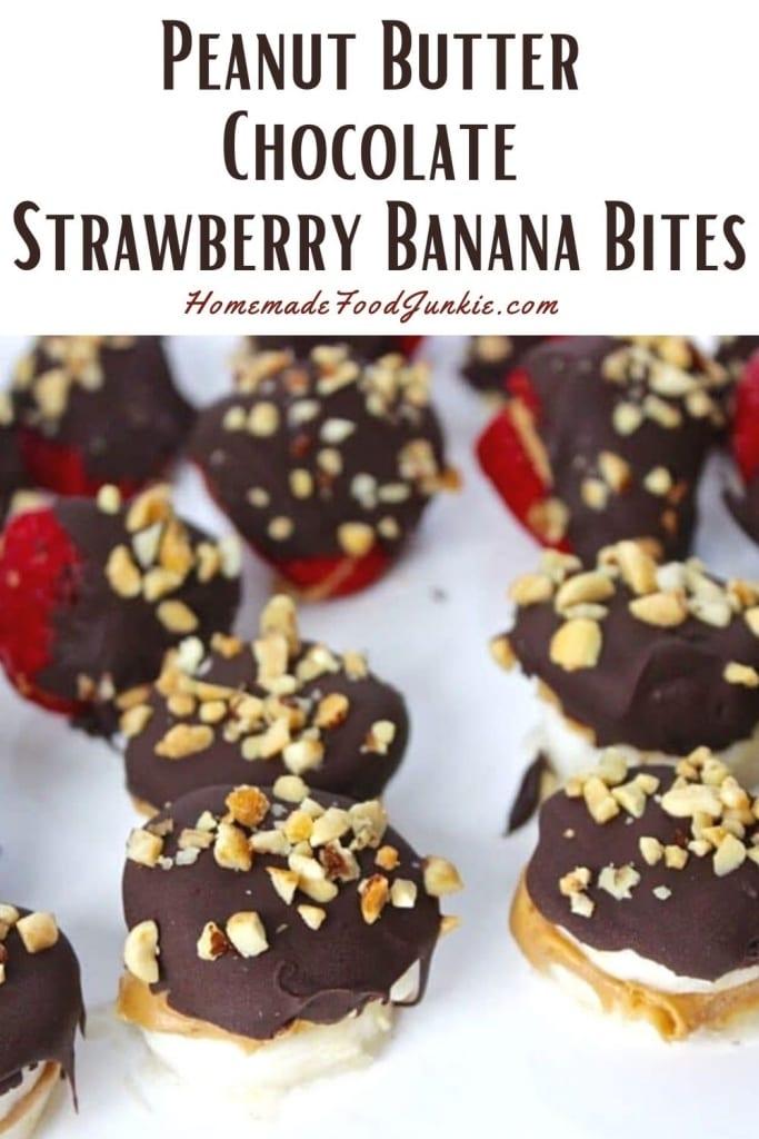 Peanut Butter Chocolate Strawberry Banana Bites-Pin Image