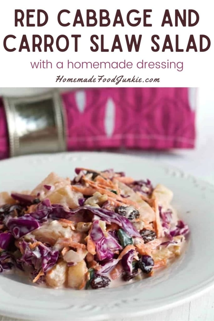 Red Cabbage And Carrot Slaw Salad-Pin Image