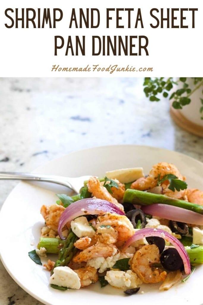 Shrimp and feta sheet pan dinner-pin image