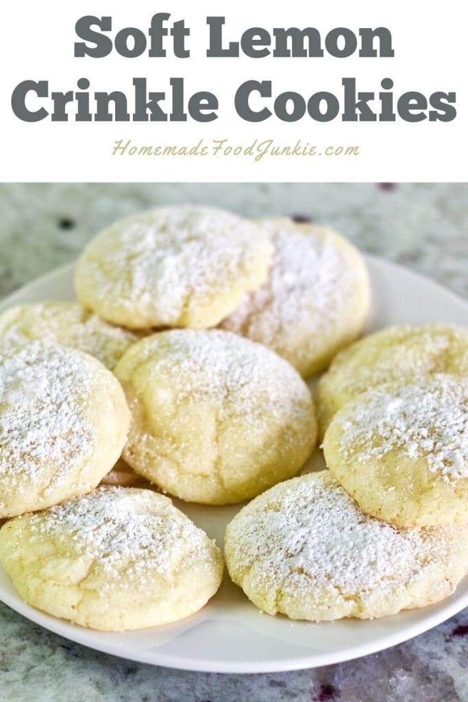 Soft lemon crinkle cookies-pin image
