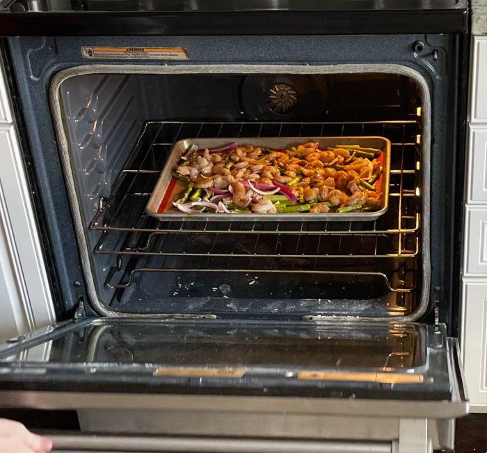 shrimp sheet pan dinner in oven