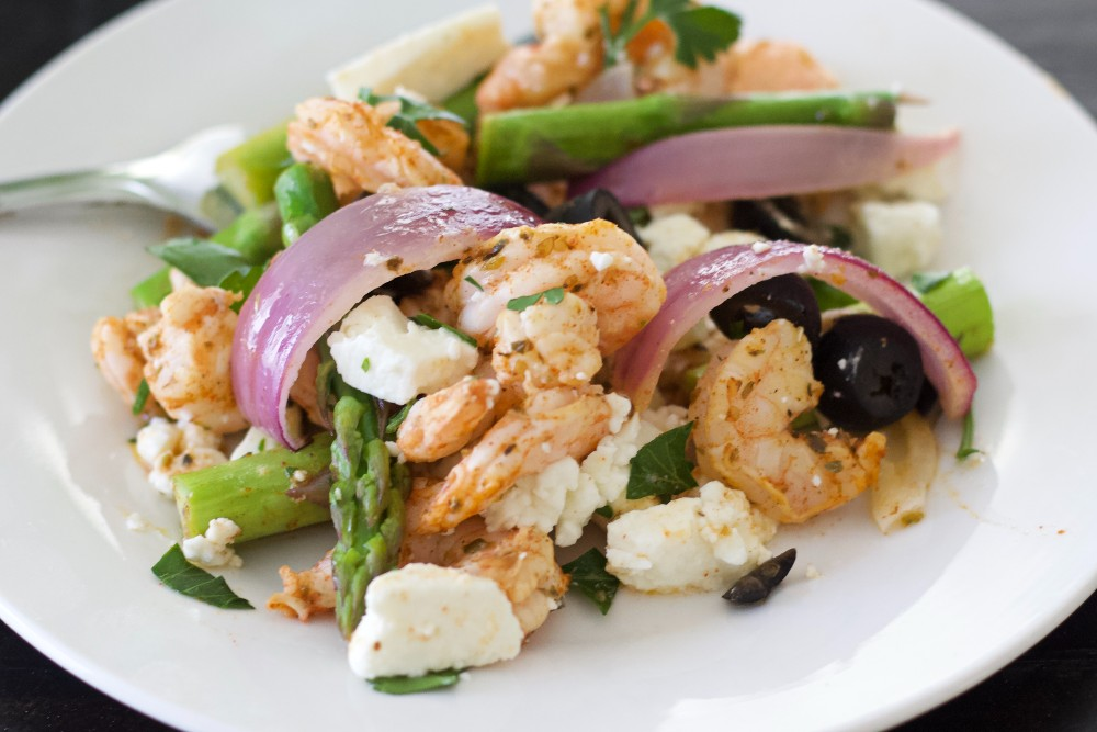 mediterranean shrimp sheet pan dinner