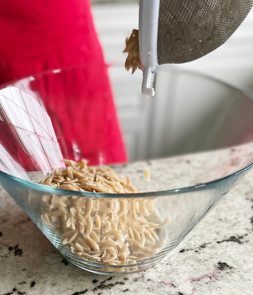 cooked orzo in salad bowl