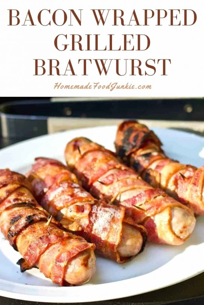 Bacon Wrapped Grilled Bratwurst-Pin Image