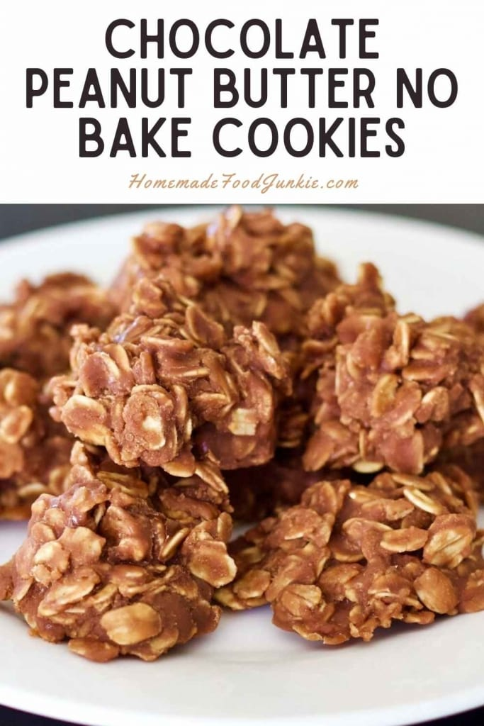 Chocolate Peanut Butter No Bake Cookies-Pin Image
