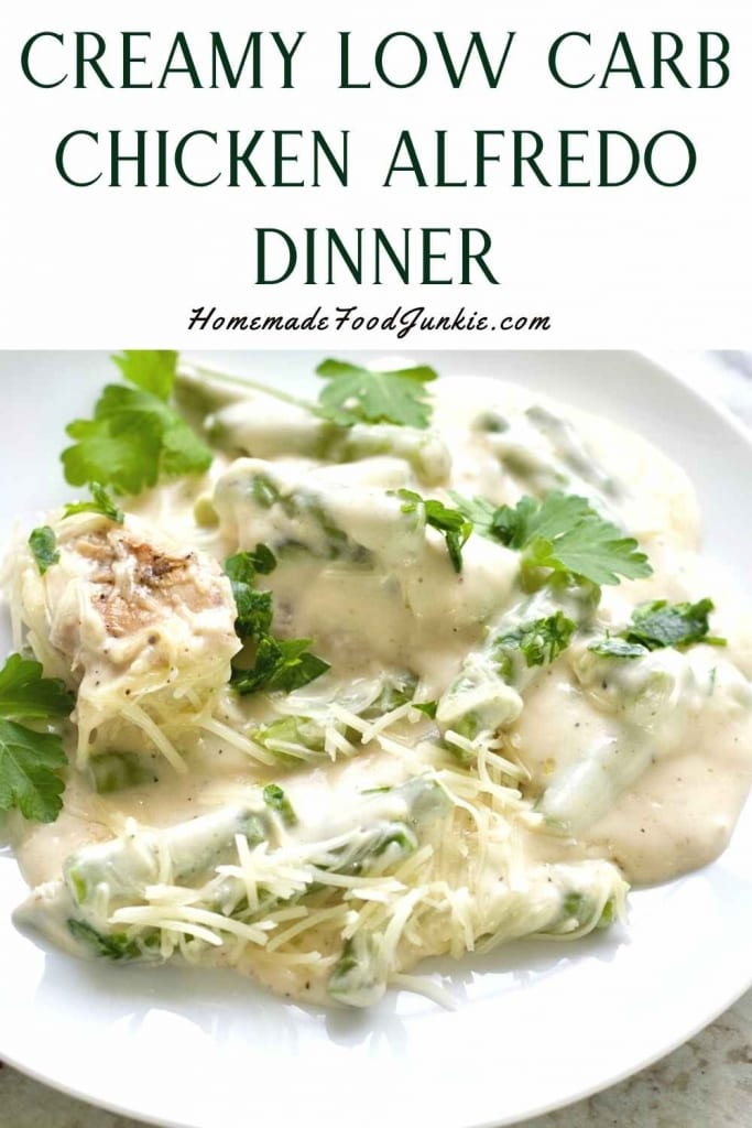 Creamy Low Carb Chicken Alfredo Dinner-Pin Image