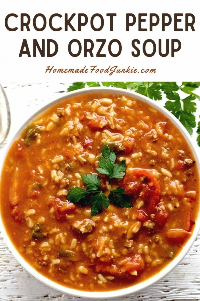 Crockpot Pepper And Orzo Soup-Pin Image