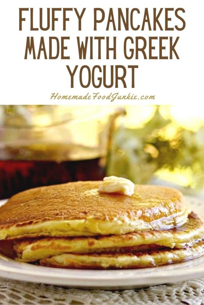 Fluffy Pancakes Made With Greek Yogurt-Pin Image