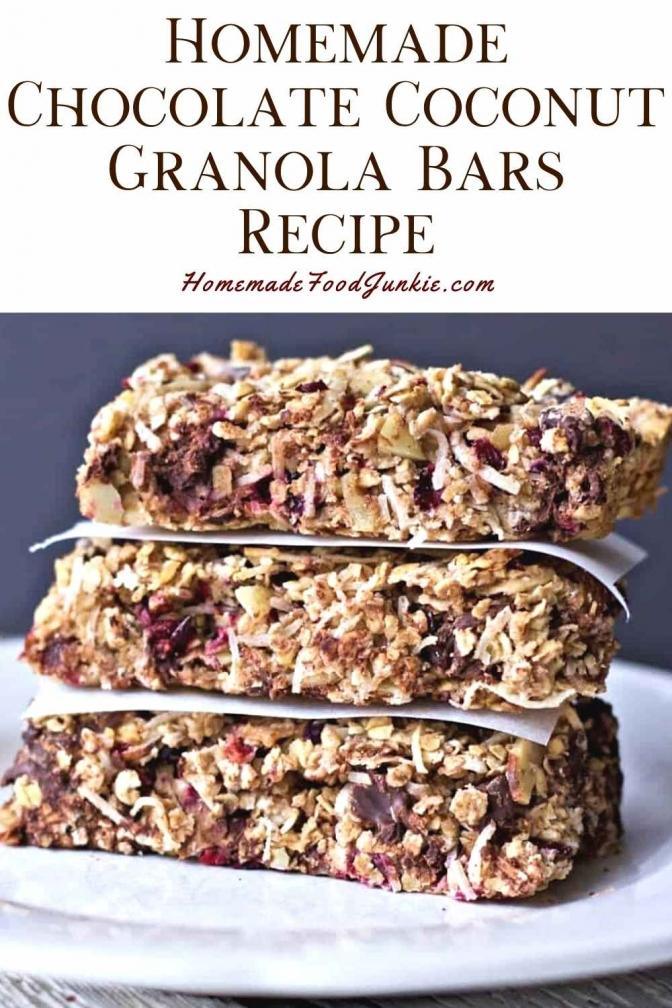 Homemade Chocolate Coconut Granola Bars Recipe-Pin Image