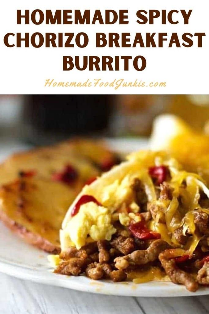 Homemade Spicy Chorizo Breakfast Burrito-Pin Image