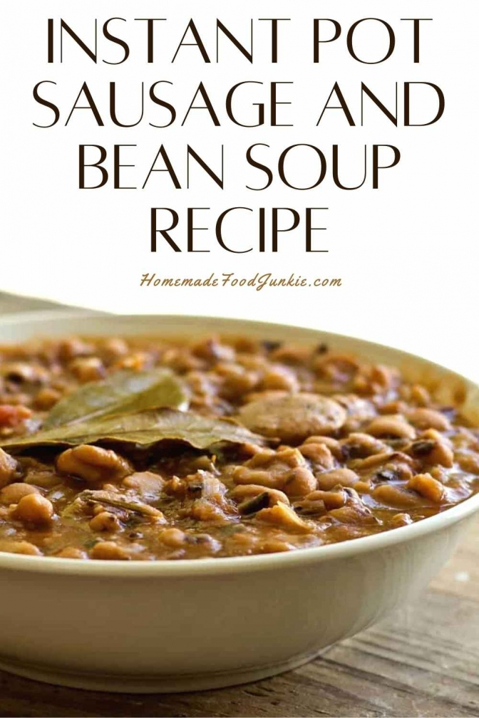 Instant pot sausage and bean soup recipe-pin image
