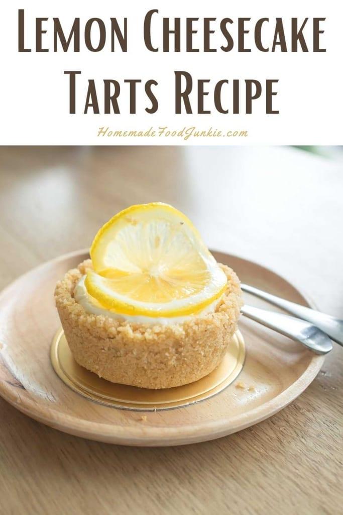 Lemon cheesecake tarts recipe-pin image