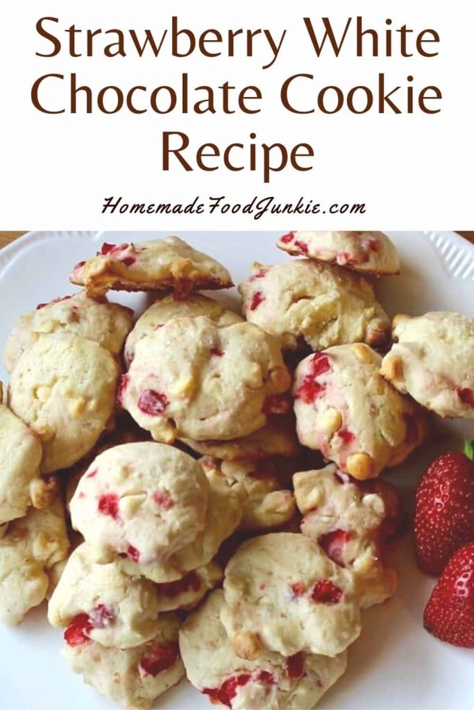 Strawberry White Chocolate Cookie Recipe-Pin Image