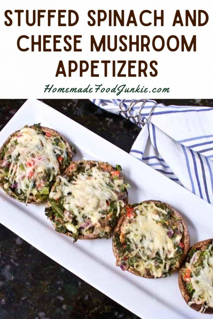 Stuffed Spinach And Cheese Mushroom Appetizers-Pin Image