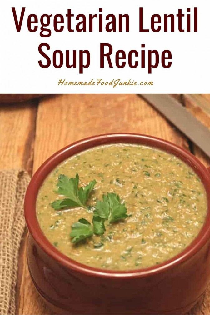 Vegetarian Lentil Soup Recipe-Pin Image