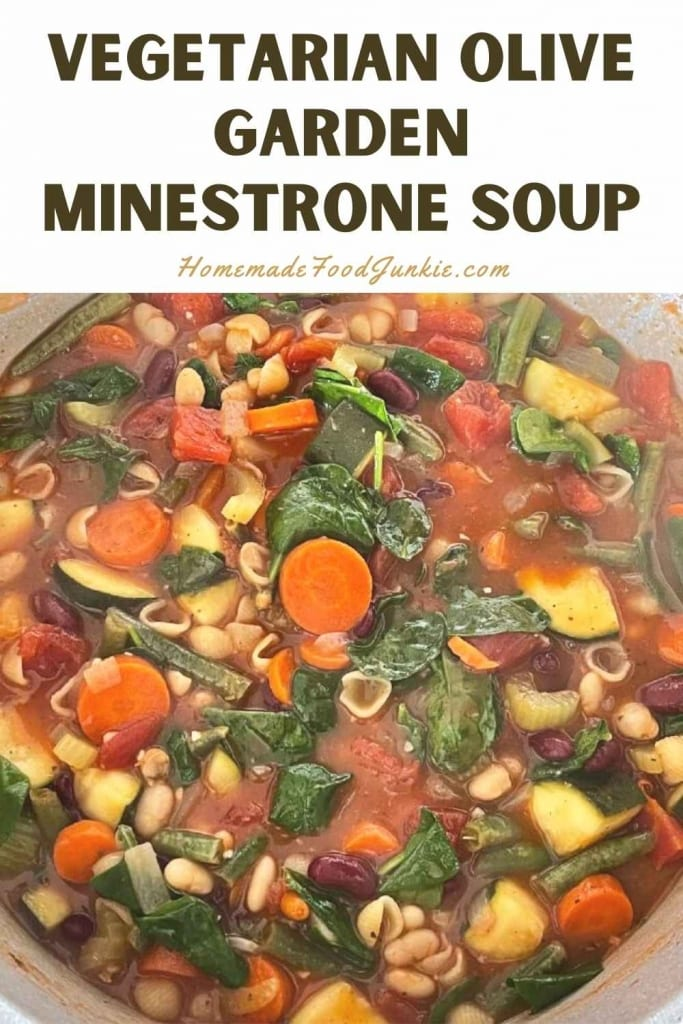 Vegetarian olive garden minestrone soup-pin image