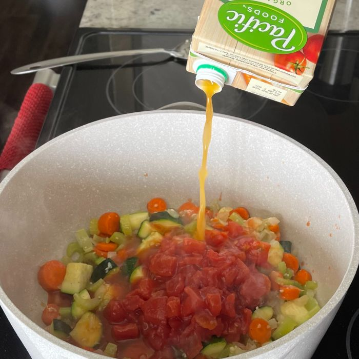 pour in vegetable broth