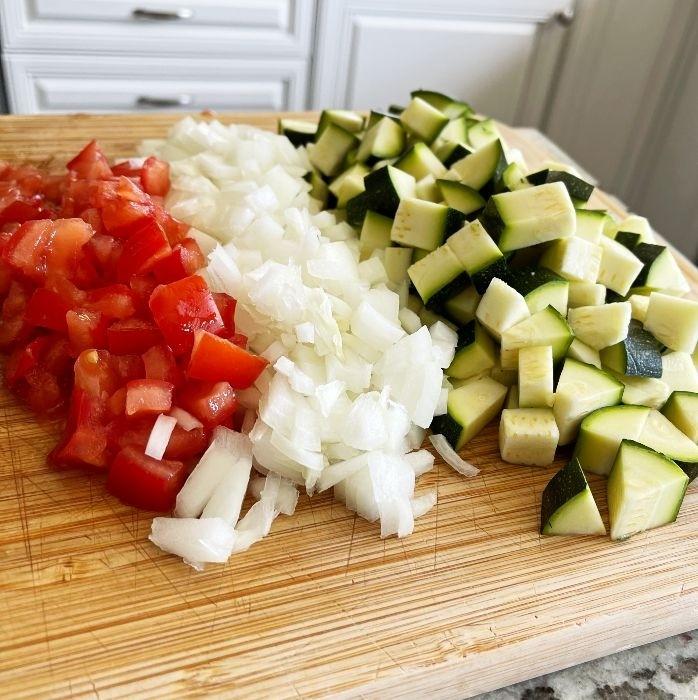 chopped tomatoes, onion and zucchini