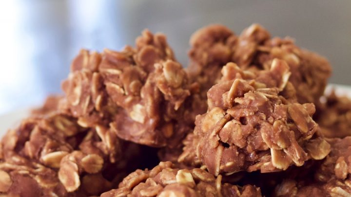 No Bake Cookies On A White Plate
