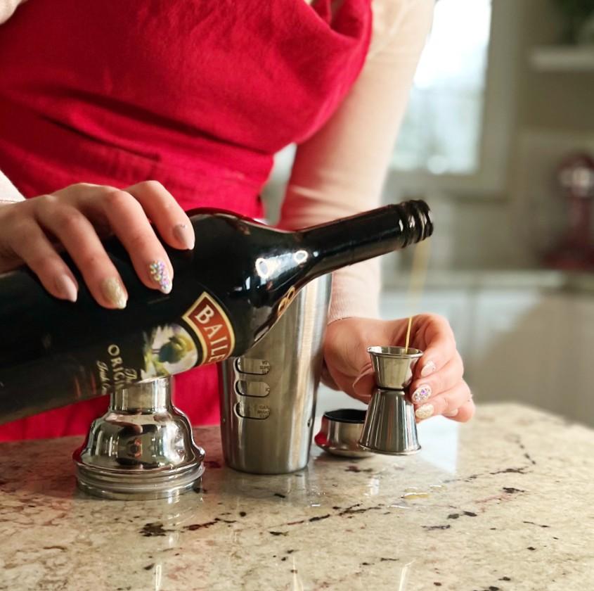 Pouring Baileys-Butterscotch Shot
