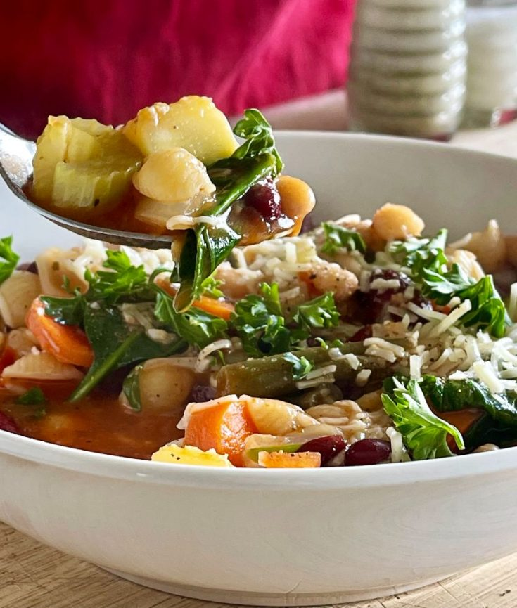 spoonful of minestrone vegetarian soup