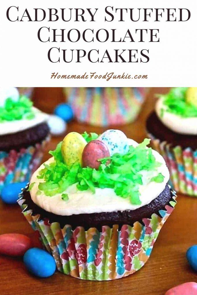 Cadbury Stuffed Chocolate Cupcakes-Pin Image