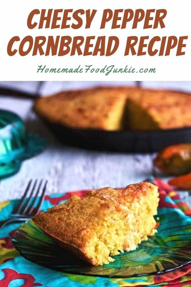 Cheesy Pepper Cornbread Recipe-Pin Image