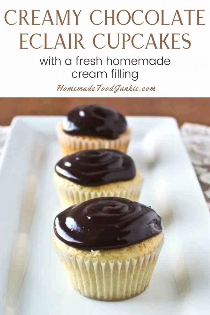 Creamy Chocolate Eclair Cupcakes-Pin Image